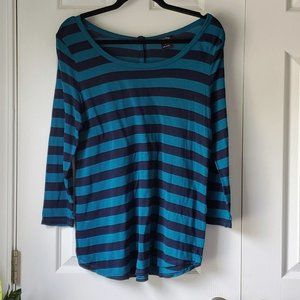 Lucky Brand Navy & Teal Stripe Top